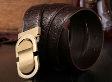 Men's Genuine Print Leather Belt Western Belt Texture Ratchet Belts Casual Style
