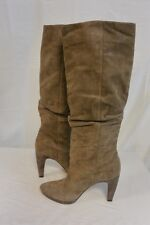 Joan & David Taupe Suede Ruched Knee-High Dabathanne Boots Size 7