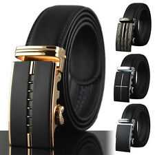 Hot Mens Belt Black Automatic Buckle Genuine Leather Waist Strap Ratchet Belts