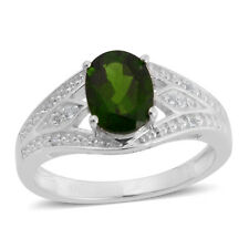 Russian CHROME DIOPSIDE , White TOPAZ RING in Plat / Sterling Silver 1.40 Cts.