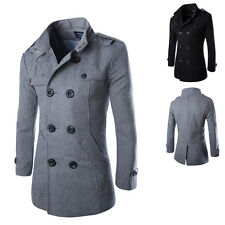 Mens Slim Wool Blends Double Breasted Trench Coat Warm Jacket Long Parka Peacoat