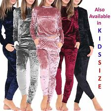 Ladies Kids Crushed Velvet Lounge Suit Sweatshirt Womens Lounge Wear Tracksuit