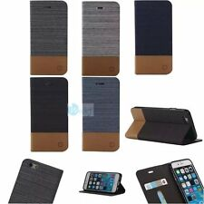 CANVAS Leather Flip Card Hold TPU Wallet Stand Case Cover For iPhone 5 6s 7 PLUS
