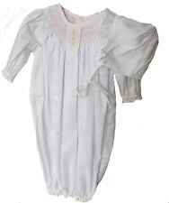 Petit Ami Gown Infant Girls White & Pink Smocked Sacque with Bonnet NB NWT