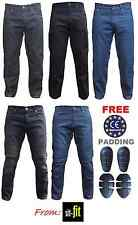 Mens Motorbike Motorcycle Jeans Denim Cargo Trousers with Protective Lining