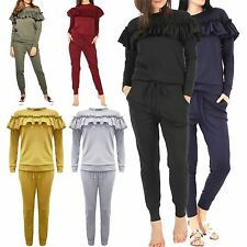 Ladies Womens Frill Long Sleeve Jog Loungewear Joggers Lounge Suit UK Size 8-14