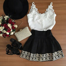 New Women Casual Cocktail Party Evening Sleeveless Lace Crochet Short Mini Dress