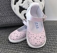 Stunning PEX Designer Baby Girls Pink Cut Out Leather Shoes 2 (18) 3 (19)