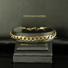 Curb chain bracelet 7 mm 750 Gold 18K plated silver yellow rose B2604
