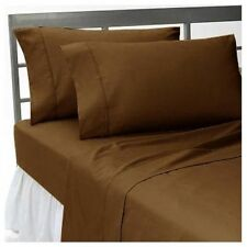US-BEDDING COLLECTION 1000TC 100%EGYPTIAN COTTON CHOCOLATE SOLID US TWIN SIZE