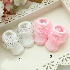 Soft Baby Boy Girl Ankle Socks Cotton Infants Lace Ruffled Bow Princess Socks ST