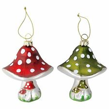 Christmas Mushroom Toadstool Glass Bauble Tree Decorations - Red or Green