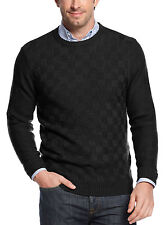 GEOFFREY BEENE Mens Crewneck Sweater Small S Black Checks Pullover $65
