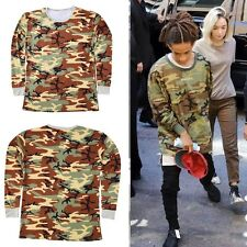 Men's Yeezy Army Military Camo T Shirts Oversize Casual Hip Hop Tee Kanye West