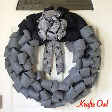 Halloween Door Wreath, Spider Wreath, Grey Halloween Wreath