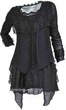 NWT Pretty Angel Clothing Rain Layered Vintage Victorian Blouse In Black 10536