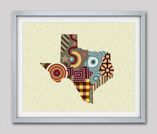 Art Texas Map Print State Wall Decor Abstract Poster USA Maps Gift Painting NEW