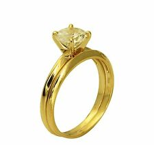 1.00 Ct 14K Yellow Gold Round Cut Engagement Promise Ring Matching Band Duo Set