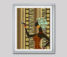 African American Woman Art Print Poster Black Woman Wall Decor Painting