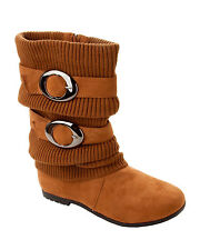 WOMENS TAN FAUX SUEDE KNITTED SLOUCH MID CALF WINTER ZIP BOOTS LADIES SIZE 2-7