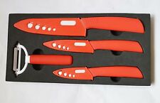"New Red 3""+ 4""+ 6"" Cutlery Knives +Peeler Parer Sharp Kitchen Ceramic knife Set"
