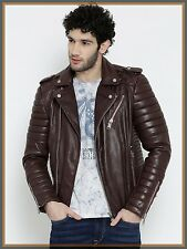 Lambskin Leather Jacket Genuine Mens Stylish Biker Motorcycle Brown slim fit X02