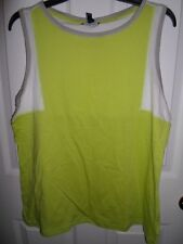 CHAPS RALPH LAUREN LIME GREEN WHITE GRAY COLOR BLOCK  KNIT TANK TOP CAMI  L NEW