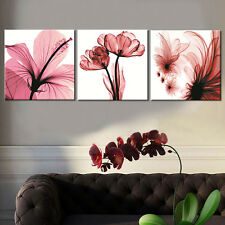 Pink Flowers Painting Print on Canvas Wall Picture for Living Room No Frame 3PCS