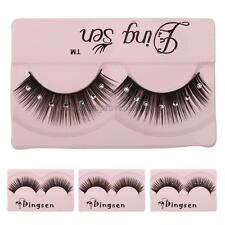 1 Pair Thick False Eyelashes with Crystal Diamond Decorated for Dancing Party