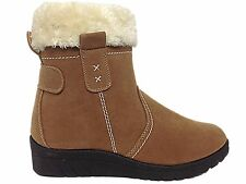 Ladies Cushion Walk Tan Thermo-Tex Faux Suede Fur Trim Winter Ankle Snow Boots