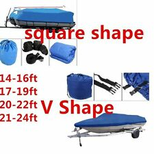 600D Heavy Duty 20ft to 22ft Trailable Boat Cover V-Hull Square 100 inch Beam WP