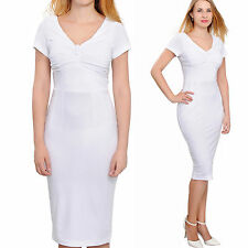 WHITE WOMEN'S SUMMER VINTAGE 1960S WIGGLE PENCIL SHEATH MIDI DRESSES DAY EVENING