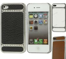 Leather Chrome Bling Diamond Rhinestone case for Apple iPhone 4 and iPhone 4S