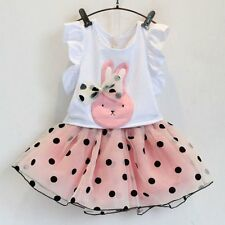 2PCS Toddler Baby Girls T-shirt Tops +Tutu Skirt Dress Pageant Party Outfits Set