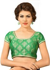 Saris and Things Green Brocade Fancy Back Open Saree Blouse Choli