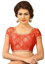 Saris and Things Red Brocade Fancy Back Open Saree Blouse Choli