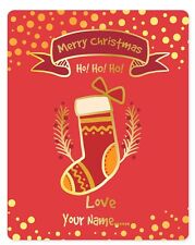 set 4 Personalized Custom Wine labels Merry christmas stocking red silver gold