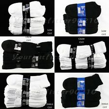 Mens Womens 9-11 10-13 Sports Cotton Crew Ankle Low Cut  Socks Lot 4-8-12 pairs