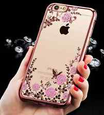 Phone Glitter Rhinestone Bling Silicone Case Protective Cover + Free Foil