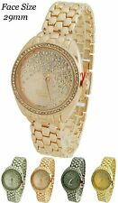 Ladies Rhinestone New Geneva Platinum Bracelet Cz Watch 29mm