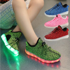 Xmas Gift Boys Girls 7 LED Light Up Luminous Fabric Sneakers Kids Casual Shoes