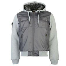 MENS CHARCOAL GREY EVERLAST LINED BOXING GYM ZIP UP THROUGH JACKET COAT WINTER