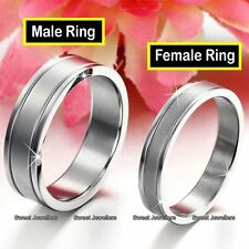 Matching Silver Rings Promise Band Xmas Gifts For Her Him Wife Couples Men Women