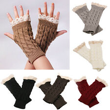 Women Fingerless Lace Gloves Soft Knitted Warm Long Mitten Wrist Warmer Engaging