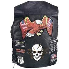 Mens Black  Leather Motorcycle Biker Vest 23 patches Eagle and Skull