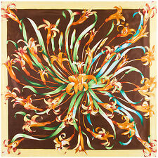 """Women's New Fashion Brown Square Scarf Orchid Print Scarves Shawl Hijab 35""""x35"""""""