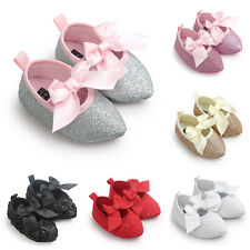 Princess Newborn Baby Girls Pointed Shoes Bow Floral Soft Crib Sole Flats Shoes