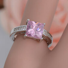 1Pc Silver Plated Pink Square Cubic Zirconia CZ Shiny Finger Ring Engaging
