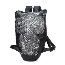PU Leatherette Motorcycle Owl  Personality Outdoor Shoulder School Bags Bookbag