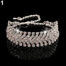 Women Multilayer Alloy Party Wedding Wrap Cuff Bangle Chain Bracelet Engaging